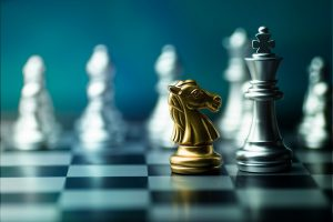 chess boad game to practice planing and stratagy, business thinking concept