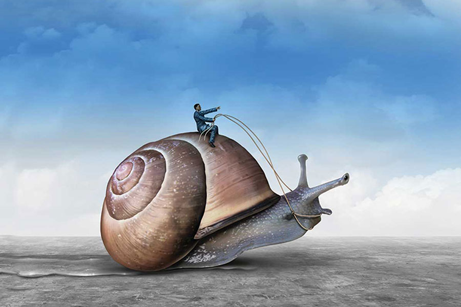Cartoon Man Riding a Snail