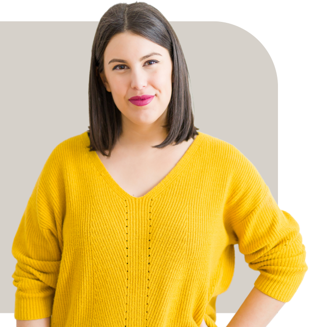 Woman wearing yellow sweater